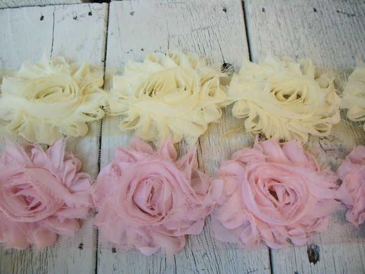 Chiffon Shabby Chic Rose Trim in BUTTERCUP and STRAWBERRY PINK -2 1/2 inches-1/2 yard each piece. $3.99, via Etsy.
