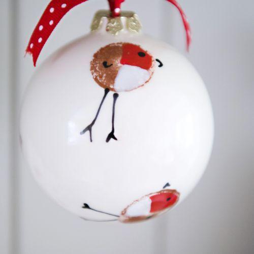 Ceramic Christmas Robin Bauble by Rainbow Celebrations | giftwrappedandgorgeous.co.uk
