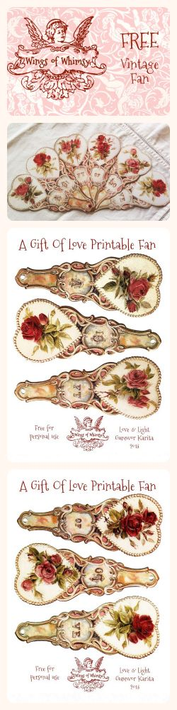 Wings of Whimsy: Vintage Fan - A Gift Of Love - free for personal use; scale down