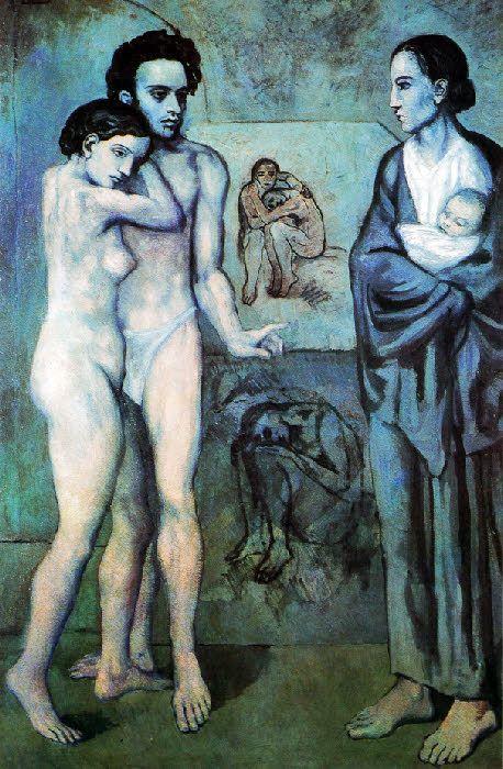 La Vie Point culminant de la période bleue La Vie est un tableau capital dans l'œuvre de Picasso La composition s'organise symétriquement entre deux groupes de personnages : A gauche le thème du nu avec le couple enlacé A droite le thème de la figure drapée et de la maternité avec la femme portant un enfant dans ses bras Dans le fond de l'atelier, en haut, un couple nu assis, la femme blottie dans les bras de l'homme ; en bas une femme nue accroupie et prostrée Il émane de ce tableau une…