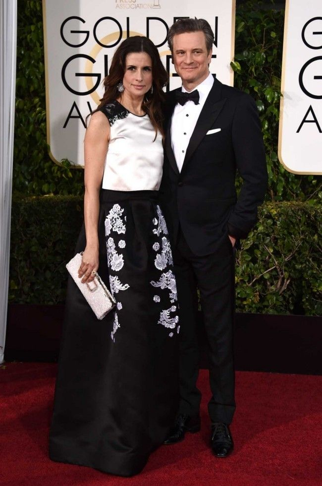 Golden Globes 2015: what they're wearing: Livia and Colin Firth