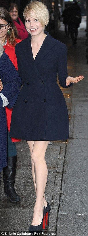 Sleek: Michelle Williams looked a picture of style as she arrived at the Late Show with David Letterman studio in New York