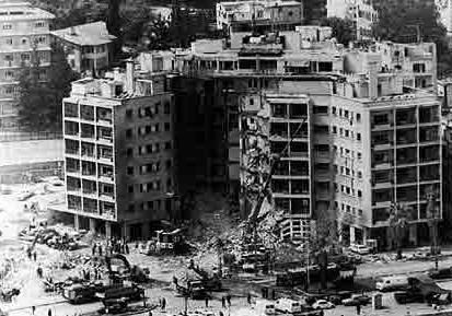 4/18/1983 LEBANON: US Embassy suicide bombing was in Beirut killing 63 people including 17 Americans. The victims were Embassy & CIA staff members including several US soldiers & 1 US Marine Security Guard. Wikipedia.