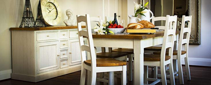 Stafford recycled timber dining table  This delightful range is crafted from recycled pine with natural timber wax finish top and white wash style painted base, it oozes old-world charm.
