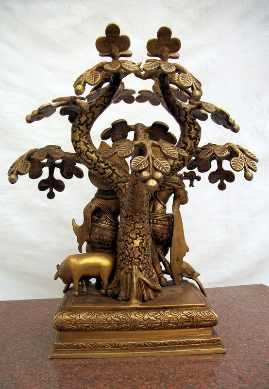 Brass Statue Of Lord Krishna Playing Flute With Radha, Under A Tree, Along With The Sacred Cow And Peacocks