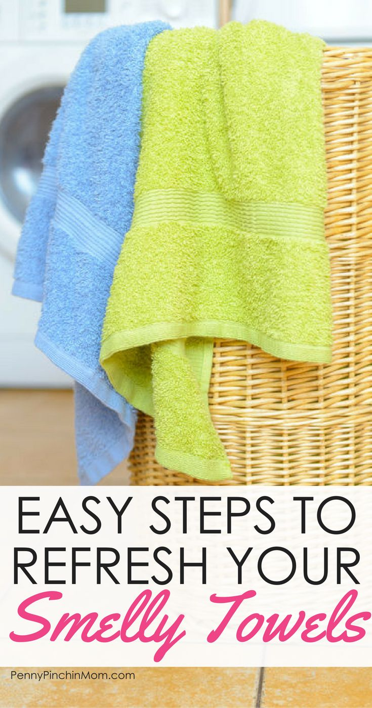 Life Hack:  Use banking soda and vinegar to freshen your towels    Vinegar for fresh towels | cleaning towels | smelly towels | clean towels | baking soda towels via @PennyPinchinMom