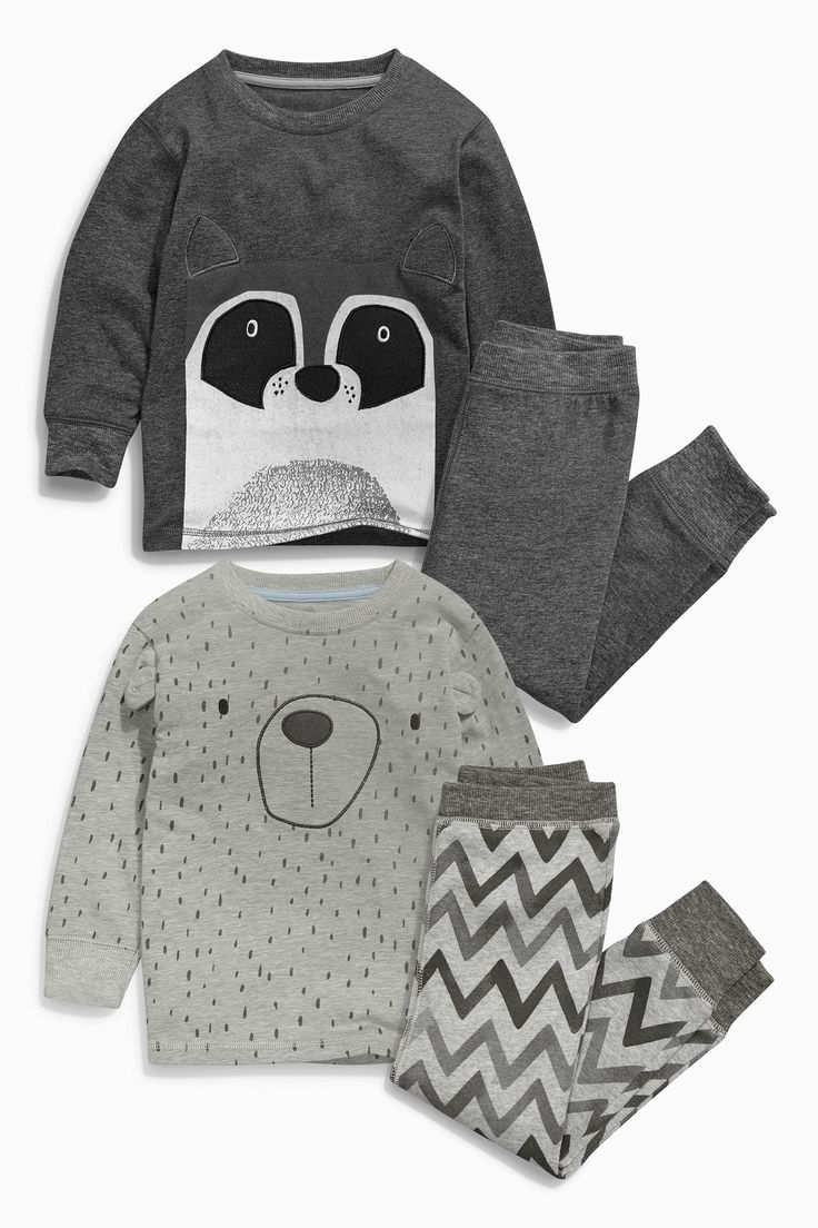 Buy Two Pack Grey Racoon Snuggle Fit Pyjamas (9mths-8yrs) from the Next UK online shop