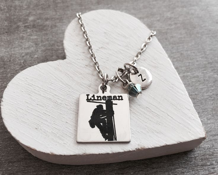 Lineman wife, Linemans Wife, I love my Lineman, Power Lineman, Power Lines, Lineman mom, industrial, Silver jewelry, Silver Necklace, Gifts  by SAjolie, $22.95 USD