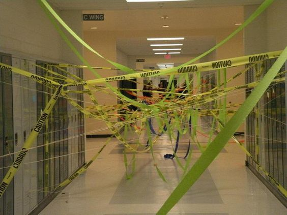 Ribbons in the Hallway - 20  Best Senior Prank Ideas, http://hative.com/best-senior-prank-ideas/,
