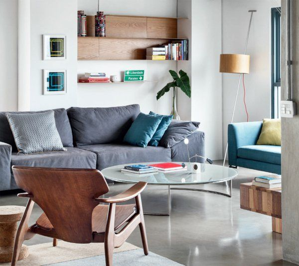 möbel glas tischplatte rund naturholz couch wohnzimmer