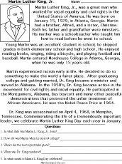 Martin Luther King, Jr. Worksheets