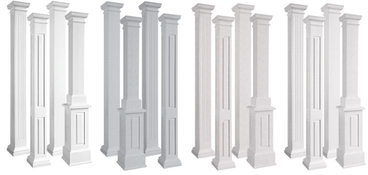 Endura stone square non tapered architectural columns for Exterior decorative columns