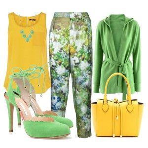 Мятные туфли на каблуке, брюки в цветочек. желтая туника, зеленая кофта, желтая сумка