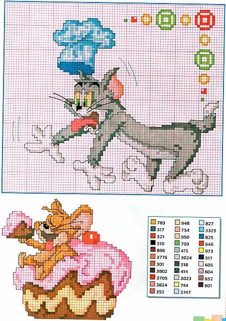 Tom e Jerry in cucina punto croce