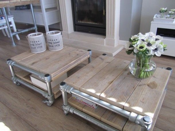 Beautiful rolling coffee tables made from pipe, Kee Klamp and reclaimed boards.