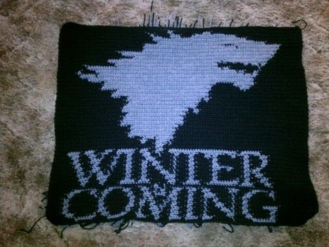 """Game of Thrones: Stark House Sigil Banner/Pillow Free Crochet Pattern: """"Winter is Coming."""" http://www.examiner.com/article/game-of-thrones-crochet-your-own-stark-winter-is-coming-banner"""