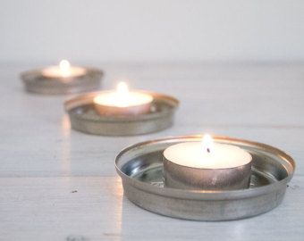 """vintage small candle holder - 3"""" fowler's vacola lids, stainless steel"""