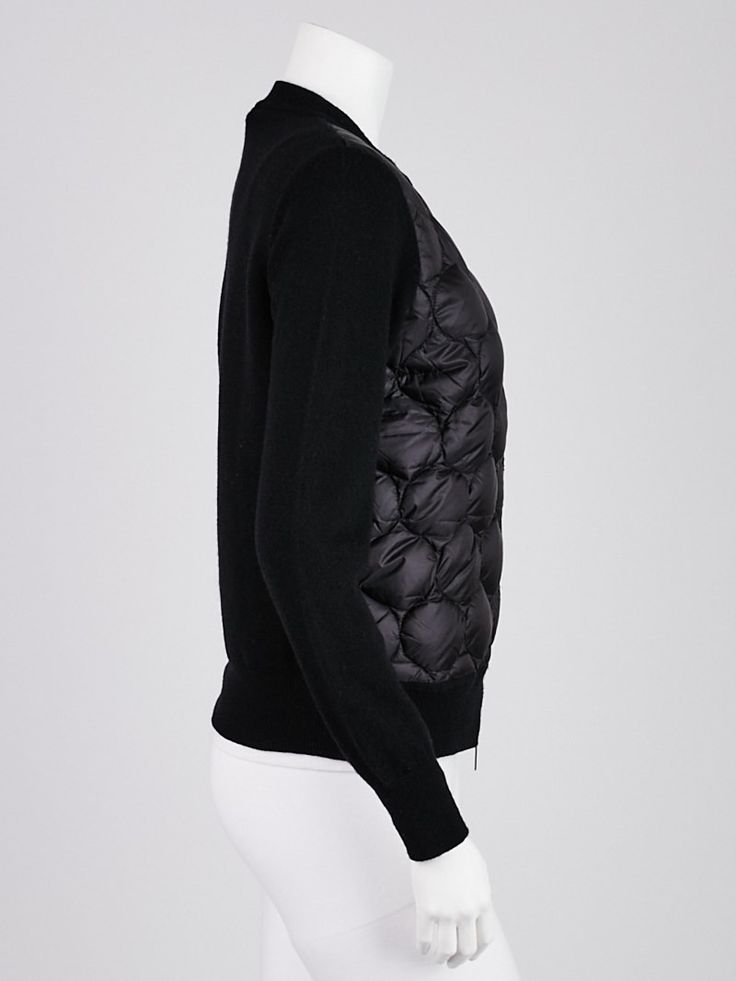 Moncler Black Nylon and Wool Maglione Tricot Cardigan Size S