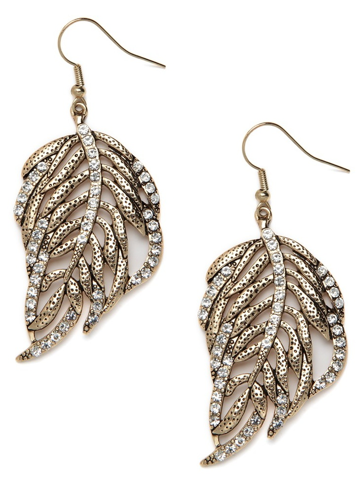 Time to get glitzy with Mother Nature. These stunning leaf-shaped drop earrings aren't just cast in sun-kissed gold, but they're also lavishly embellished with pavé crystals.