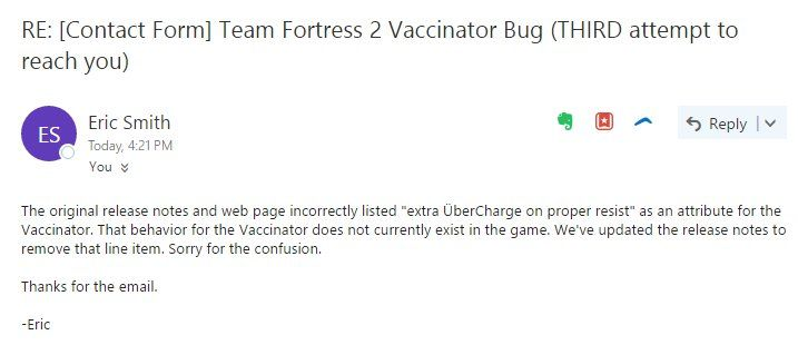 Eric Smith replied to my friend's email that complained the vaccinator doesn't work. Safe to say that I'm disappointed #games #teamfortress2 #steam #tf2 #SteamNewRelease #gaming #Valve