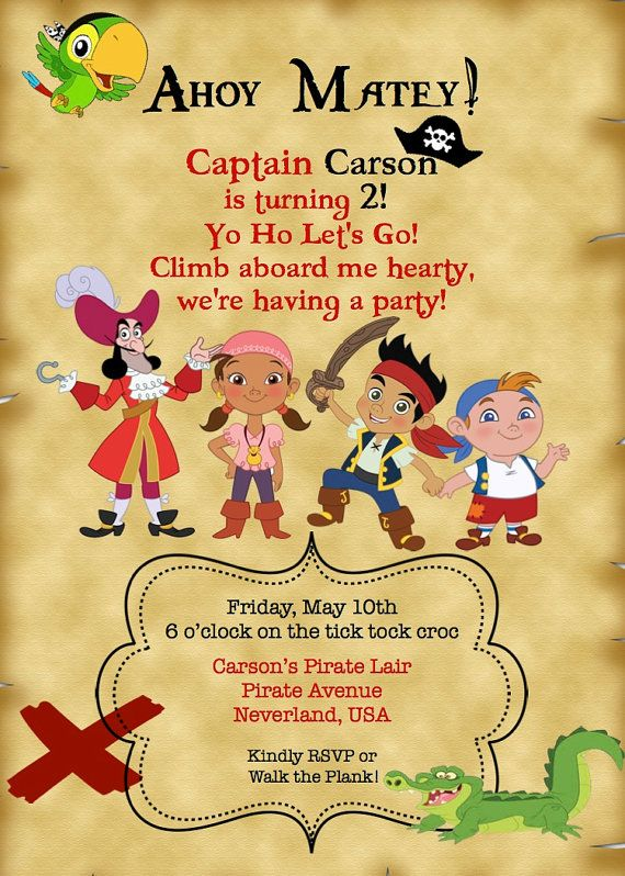 cute invite for Jake and the Neverland Pirates party