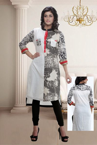 USD 30.75 White Cotton Printed Kurti