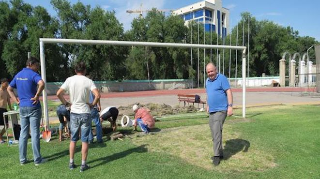 Travelling Socceroo Fan, Pablo Bateson, inspects the last-minute pitch preparation at Spartak Stadium in Bishkek – three days before the Socceroos meet Kyrgyzstan in a 2018 World Cup qualifier just after midnight AEST on Wednesday. Photo via @PabloFootball. 14.06.15