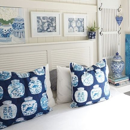 Art and decor by Sprout Gallery Blue and white cushions. Blue and white prints.