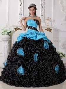 Popular Blue and Black Quinceanera Dress Sweetheart Organza Beading and Rolling Flowers Ball Gown