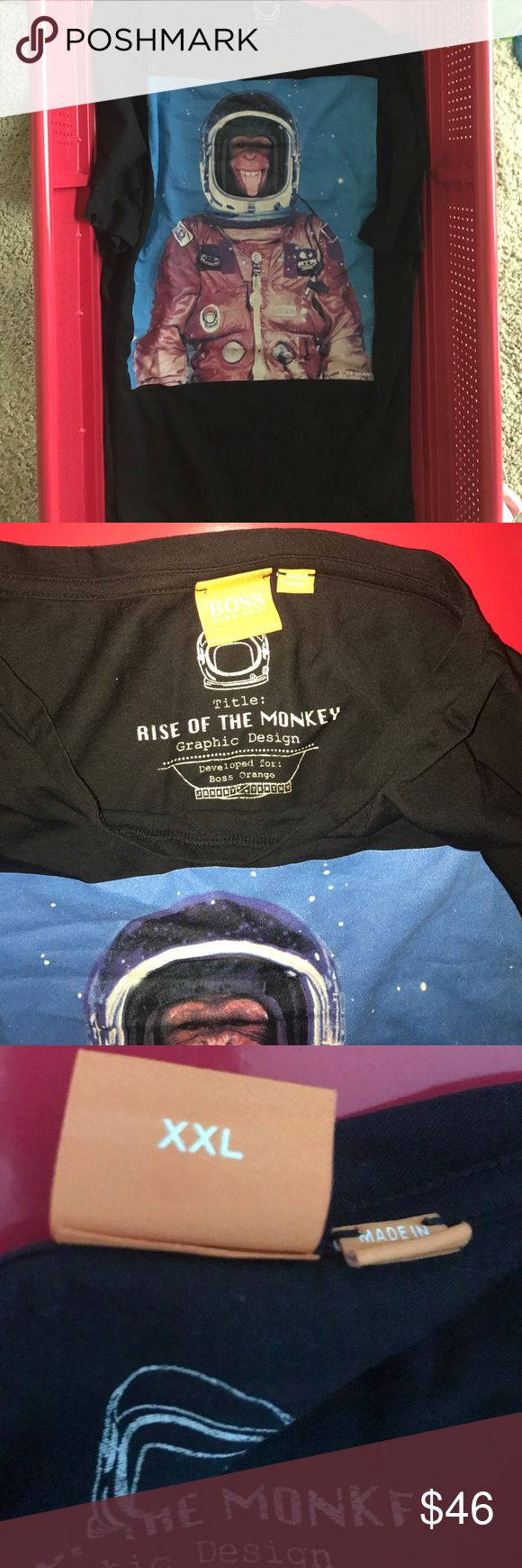 Rise of 🐒 boss 💯 authentic Hugo Boss rise of the 🐒 astronaut 👩🚀 tee.  All black in the black with boss orange on the back at nape.  Must have for Hugo boss wearers collection.  No holes rips tears or stains or piling 🚭🚫🐶🚫🐱🏡 Hugo Boss Shirts Tees - Short Sleeve