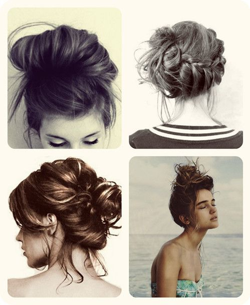 casual and esay messy bun up do for medium hair with clip in extensions