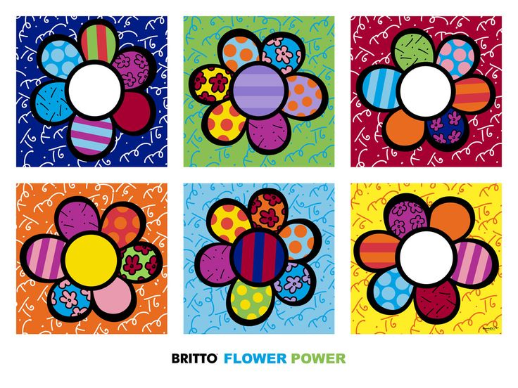 POP ART PRINT Flower Power Multi Romero Britto Contemporary Floral Poster 48x36