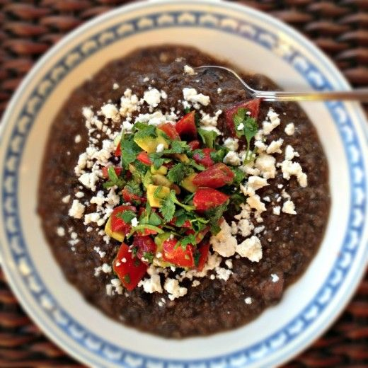 #Vegan Black Bean Soup with Avocado Salsa (leave off the cheese)