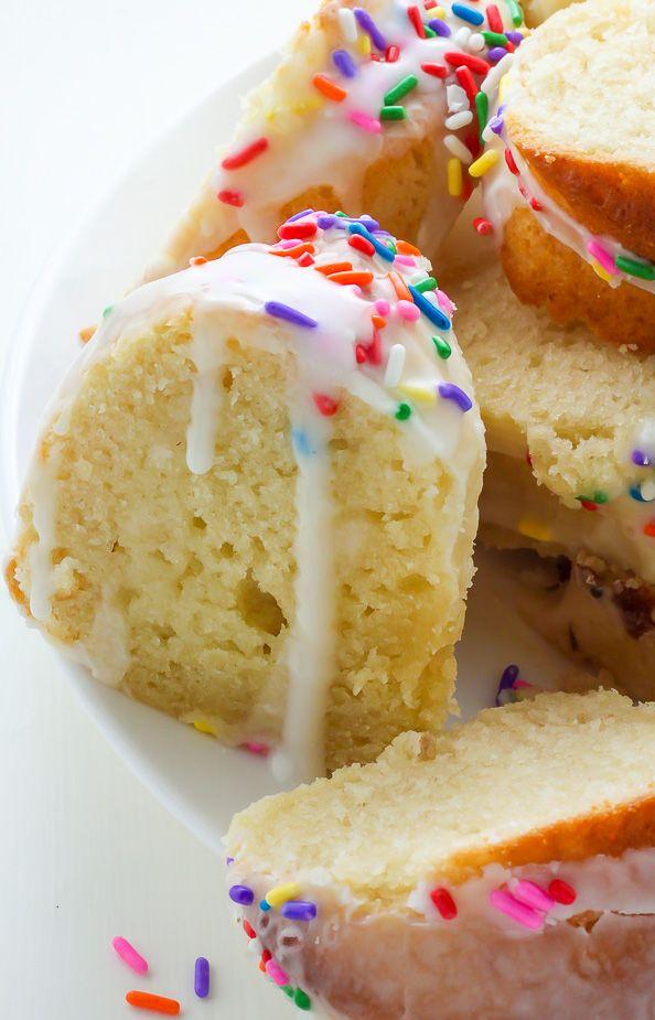 A supremely moist Vanilla Buttermilk Bundt Cake topped with a simple Vanilla Glaze and plenty of sprinkles!