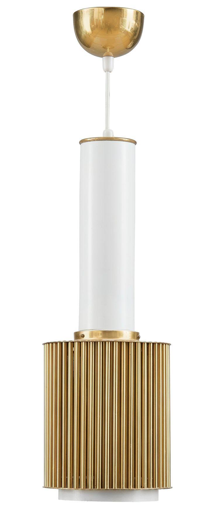 Alvar Aalto; #A111 Brass and Painted Metal Ceiling Light by Valaistustyö Ky, c1952.