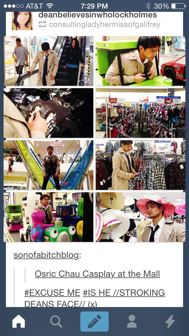 Osric cosplaying as Castiel. http://deanbelievesinwholockholmes.tumblr.com/post/86633434289/sonofabitchblog-osric-chau-casplay-at-the