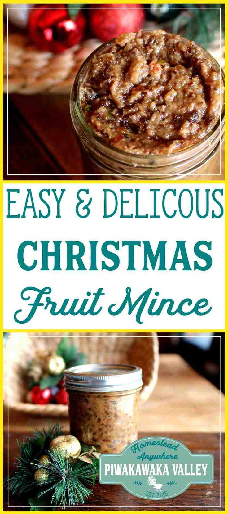 This quick and easy Christmas fruit mince recipe comes together with ease and will store in your fridge for up to a year. You can make it with or without the alcohol and use it to make your favorite mince pie recipe. #christmas #recipe