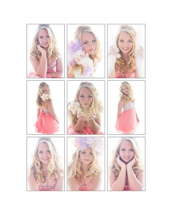 Beautiful-teen-glamour-portraits - Gorgeous 9-up Collage from Tayla's Sweet 16 Portrait session. #teen #portraits #sweet16 #16 #glamour #senior #formal #prom www.kmbergmanphotography.com