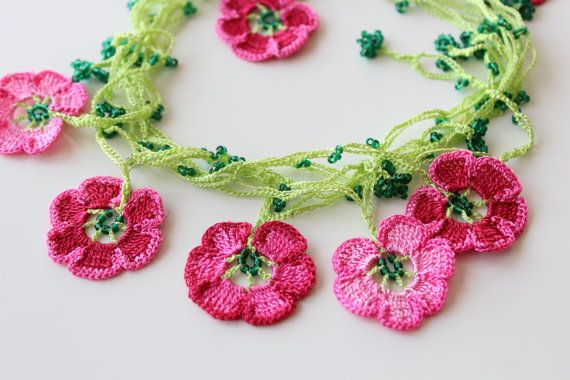 Cherry Blossom Necklace, Pink crochet flowers, Lariat Jewelry, Turkish Oya Crochet, Crochet gift