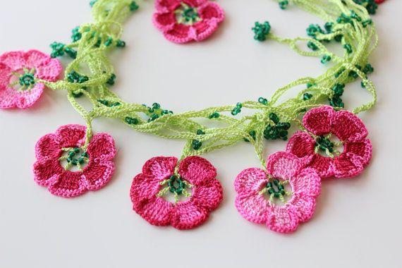 Cherry Blossom Necklace, Pink crochet flowers, Lariat Jewelry, Turkish Oya Crochet, Crochet gift
