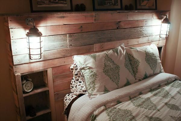 pallet headboard with lights - Google Search