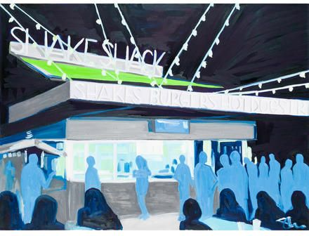 Shake Shack. Listed at artist studio price American artist Shane Connell expresses the evening Shake Shack experience with shadowed figures infamously waiting in line for a burger and shake.  https://api.shopstyle.com/action/apiVisitRetailer?id=513236473&pid=uid8100-34415590-43