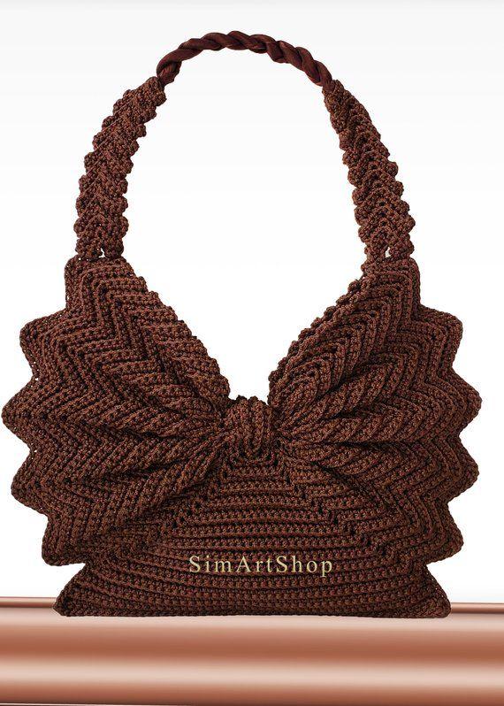 Crochet handbag,Crochet tote,Vintage style purse,Retro handbag,Unique bag,Butterfly bag,Brown bag