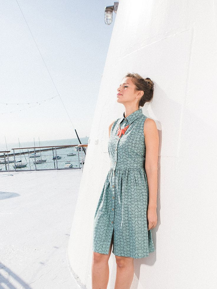 Myrabelle shirtdress teal Ethically made dress