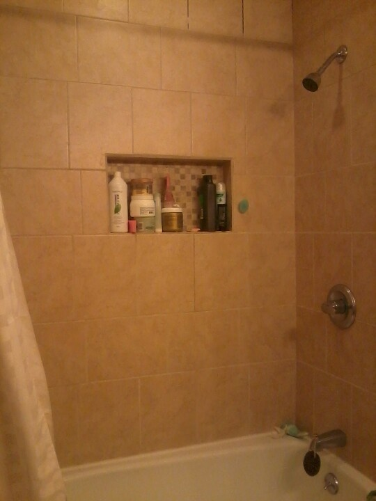 Shower cubby holes same mosaic on floor | Bathroom ...