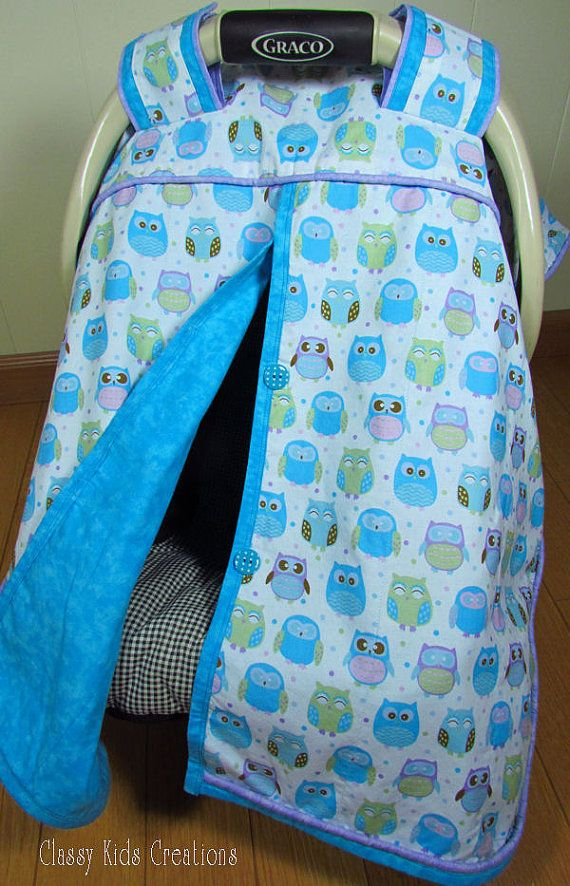 Teal Owls Baby Car Seat Blanket Canopy / Car Seat Cover