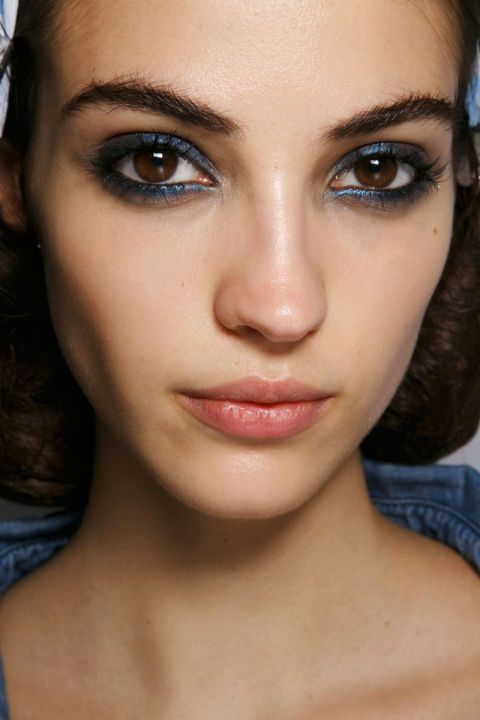 Blue Slate.  Runway make-up backstage at Sonia Rykiel Spring/Summer 2016 RTW at Paris Fashion Week.