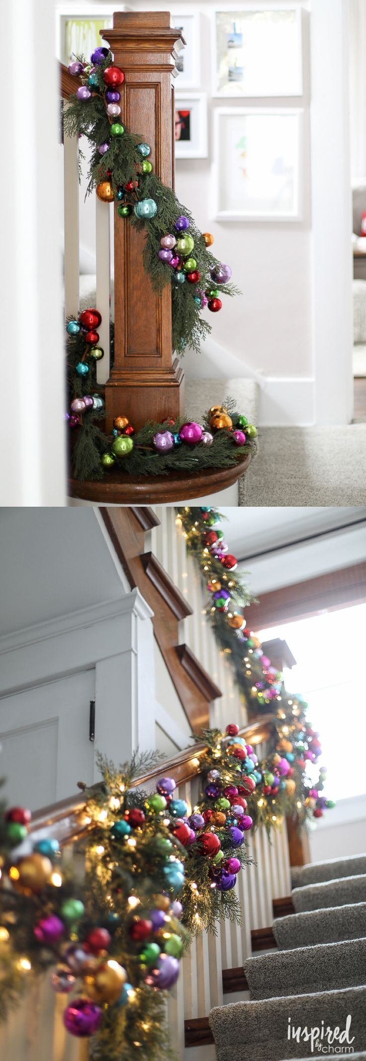 Colorful Christmas Ornament and Pine Banister Garland