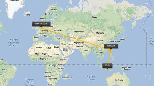 De afstand op een wereldkaart
