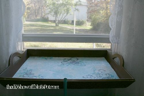 Easy DIY cat perch/window seat from an old serving tray